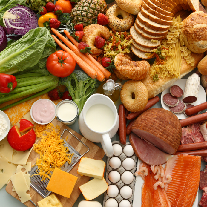 Large group of foods