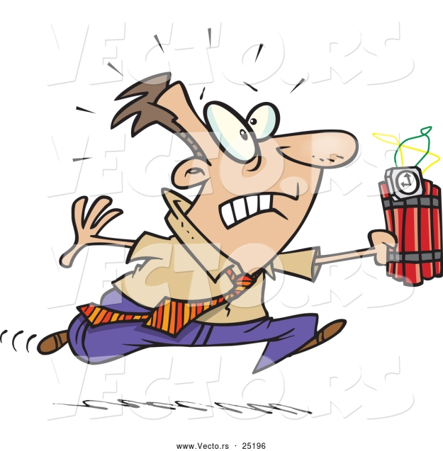 vector-of-a-panicking-cartoon-businessman-running-with-ticking-dynamite-by-ron-leishman-25196