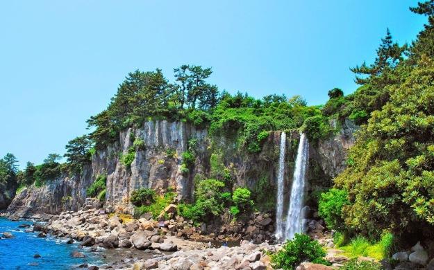 Jeongbang Waterfall on Jeju Island of South Korea