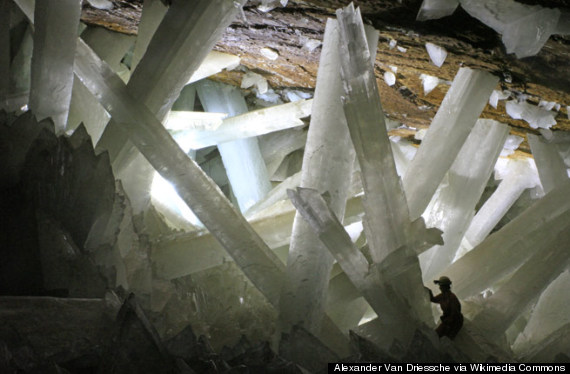 Gypsum crystals of the Naica cave (Cave of the Crystals), Mexico