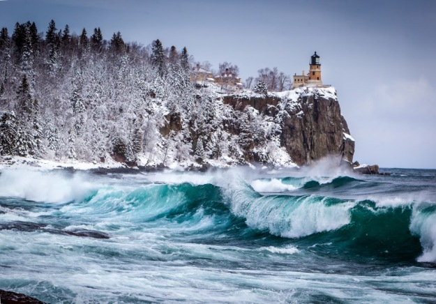 A passing Canadian Clipper dumped a blanket of soft snow across the landscape and set the stage for scenic beauty as large waves rolled in off Lake Superior.