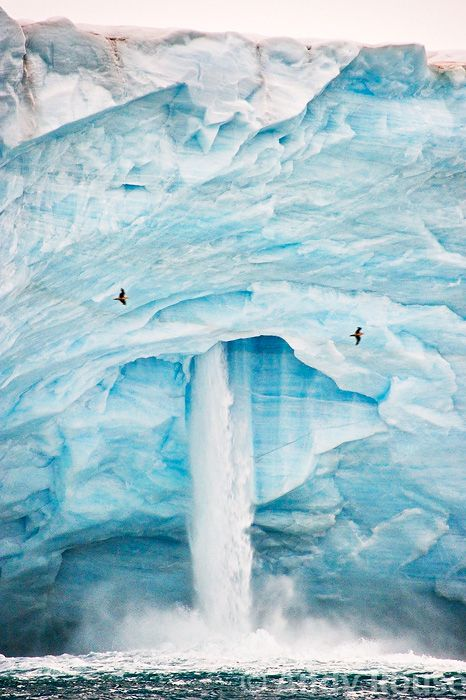 Waterfalls Austfonna Polar Ice Cap, Svalbard, Arctic