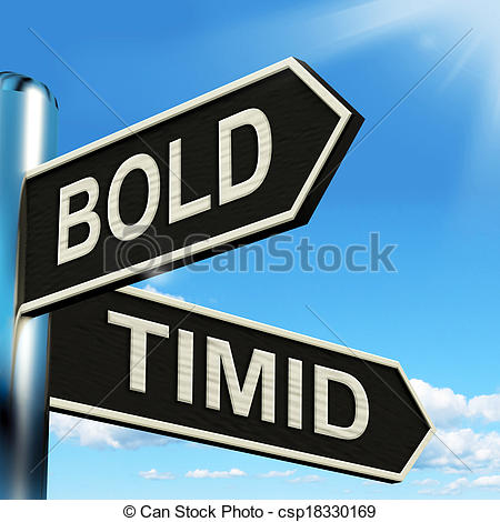 Bold Timid Signpost Showing Extroverted And Shy