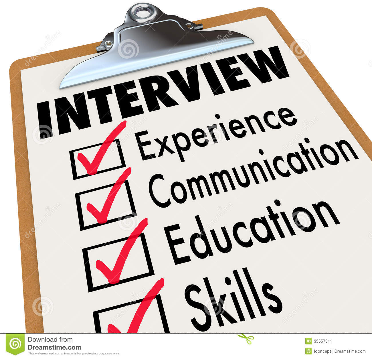 interview-checklist-job-candidate-requirements-qualifications-must-possess-clipboard-including-experience-communication-35557311