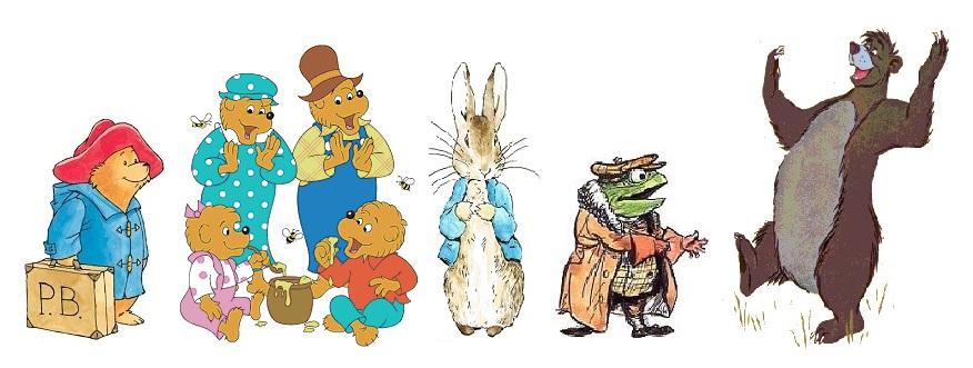 Anthropomorphism-Baloo-the-Bear-Paddington-Bear-Peter-Rabbit-Mr.-Toad-Jungle-Book-Wind-In-The-Willows-Kipling-Beatrix-Potter-childrens-book